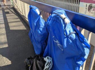 bikes on french train platform packed in a rinko bag