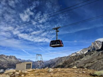 Cable car which takes people to teh Aiguille du Midi
