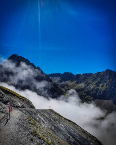 Cloud rising up the valley on the Col du Tourmalet