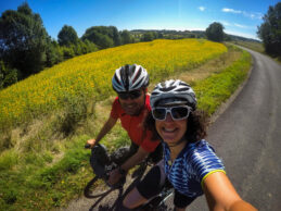 Cycling through sunflower fields in France