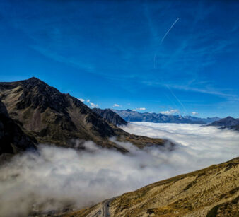 Looking down a layer of cloud in the valley from the summit of Col du Tourmalet