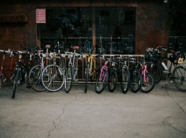 Bikes out in front of a bike shop