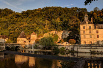 Morning light on the building of Brantome in the Dordgne