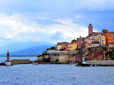 A view across the water towards Bastia in Corsica