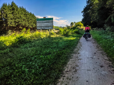 Cycling on the shared use VOie Verte from Saint-Girons to Foix. THe trail is crushed dirt and in good condition.
