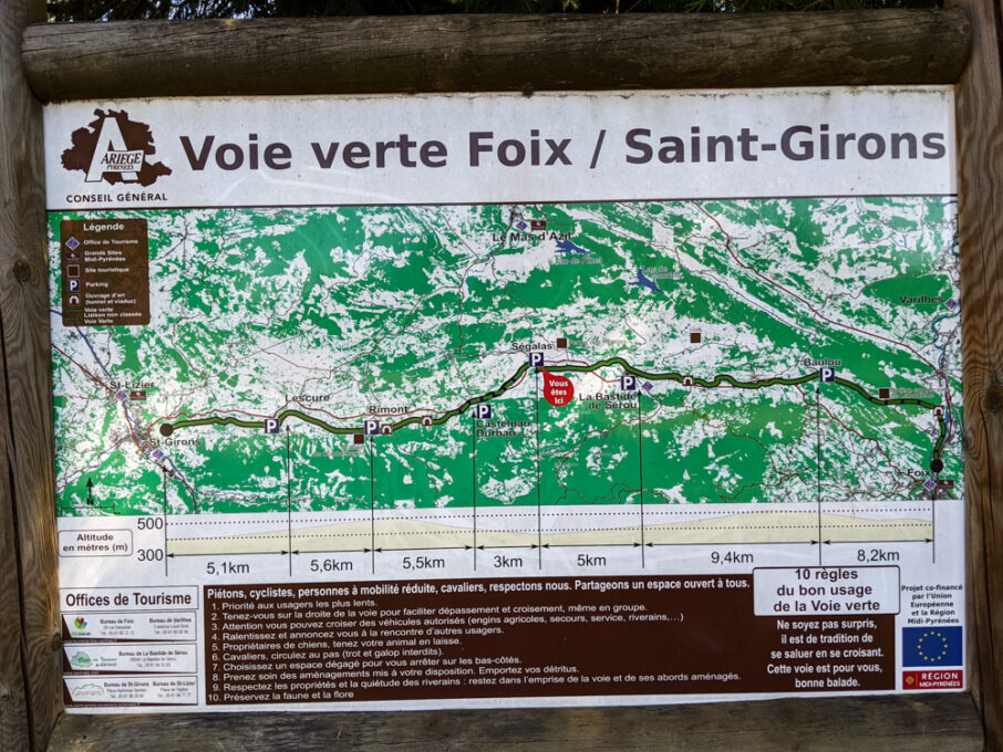 Voie Vere Foix - Saint-Girons shared use trail signage