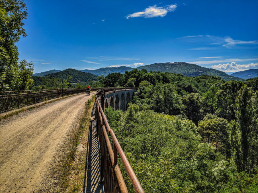 View of the Viaduct on the Voie Verte from Foix to Saint-GIrons in the Ariege Pyrenees.