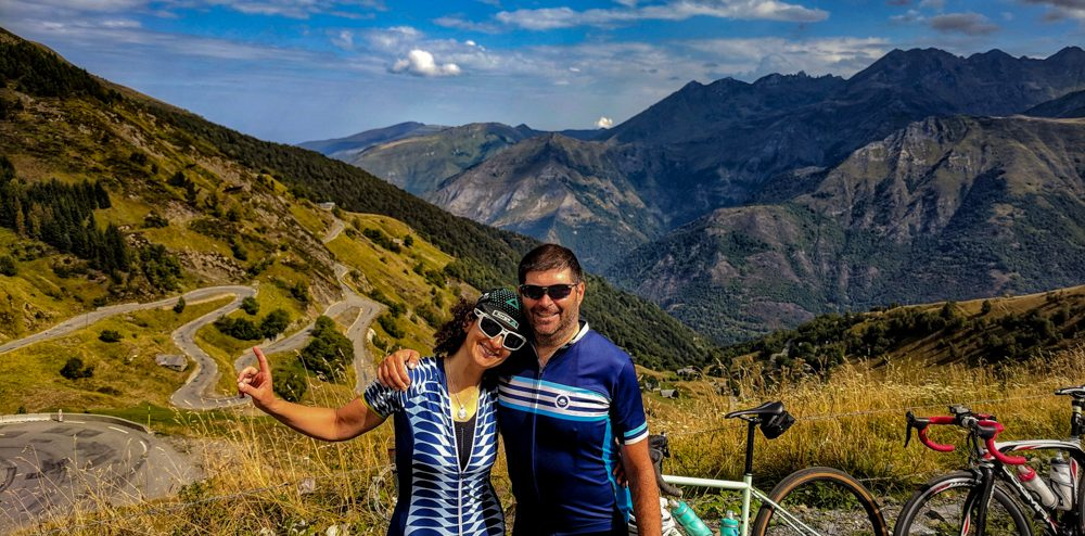 Bella and Steve from Seek Travel ride at the top of Luz Ardiden