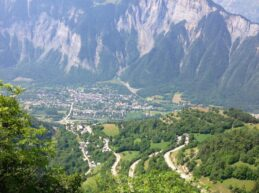 Alpe d'Huez view of hairpins and the french alps