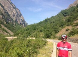 Cycling on the famous ride in the french alps of les deux alpes