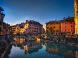 Annecy old city buildings reflecting in the canal. French Alps