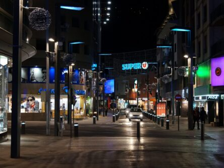 Scenes of a shopping strip in Andorra at night