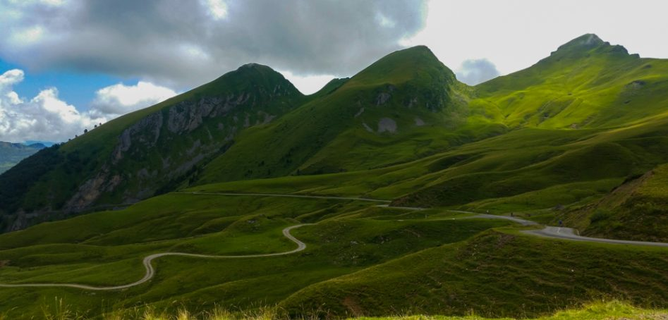 Col d'Aubisque road panorama, cycling in the Pyrenees