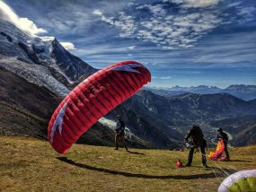 paraglider about to launch from chamonix in the French Alps