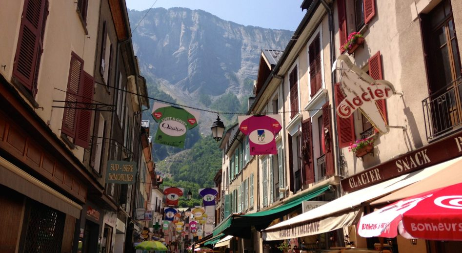 the cycling friendly village of Bourg d'Oisans in the French Alps