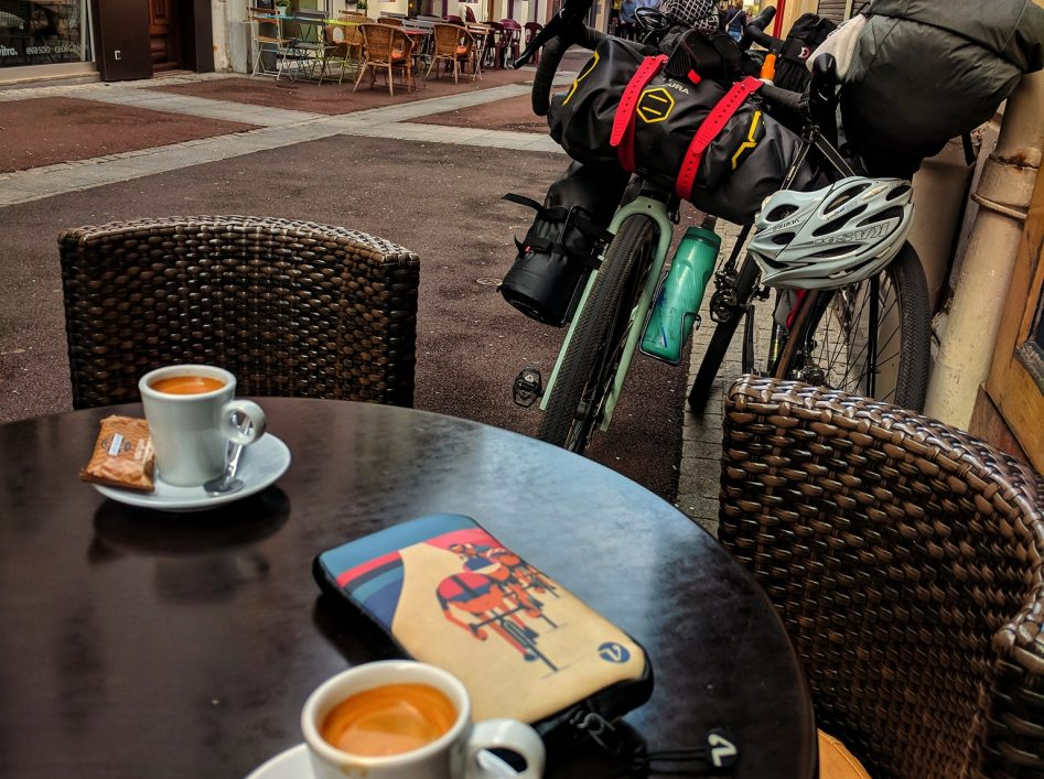 Cycling coffee stop in france