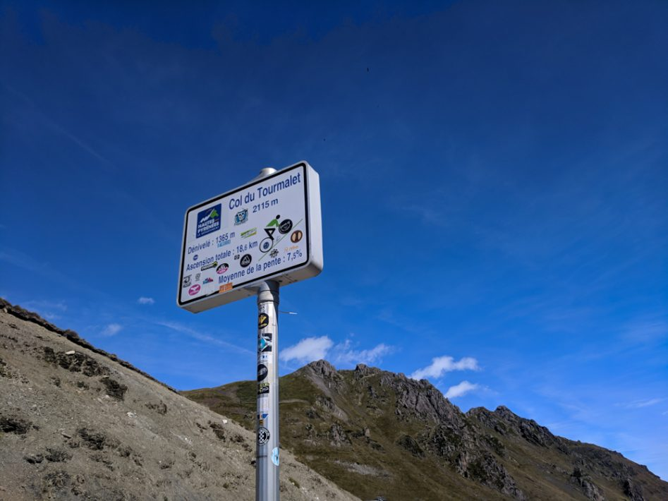 Col du Tourmalet summit sign cycling