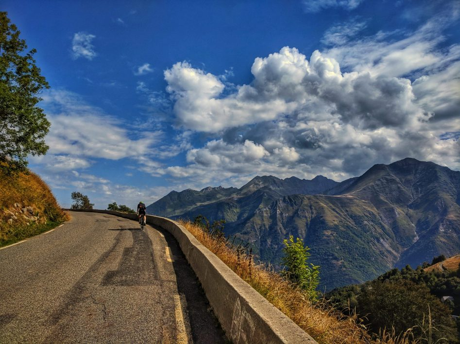 Male cyclist riding the Luz ardiden cycling climb in the French Pyrenees