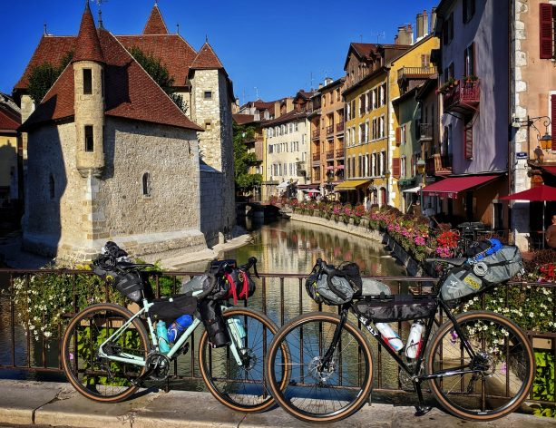 Two bikes in annecy loaded up for cycling in the French Alps