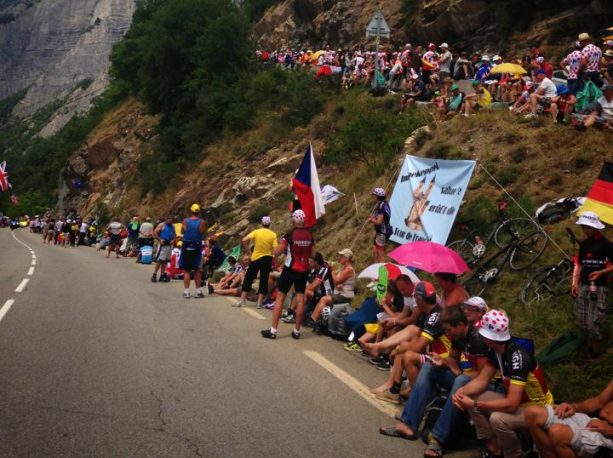 Fans line the road of alpe d'huez waiting for the tdf riders