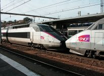France trip planning - A TGV train at a railway station platform