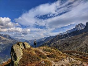 A Man on the Mont Blanc hiking trail in the french alps