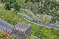 Series of switchbacks and hairpins on the route de lac cycling route. A lesser known climb in the French Pyrenees.