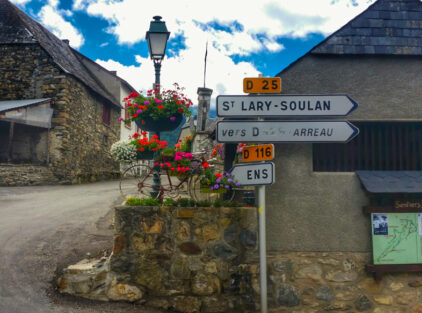 St Lary Soulan roadsign, village in the Pyrenees