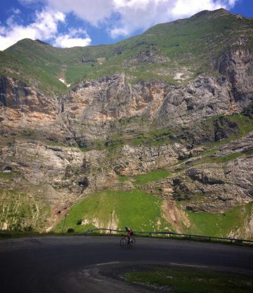 person cycling the Col de Tentes climb in the French Pyrenees