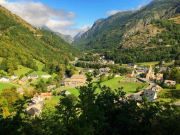 View looking out across the Pyrenees and French village of Gedre