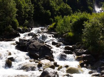 cycling Pont d'Espagne waterfall by the roadside