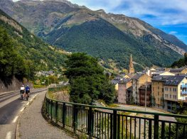 Two riders Cycling to Cauterets in the French Pyrenees