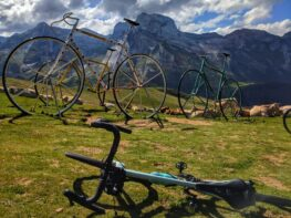 Bike in front of the big bike monuments at the Col d'Aubisque