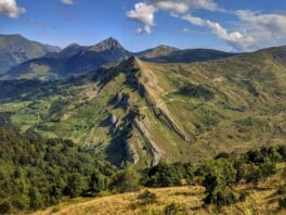 The road of the Col du Soulor, snaking around the edge of the Pyrenees mountains