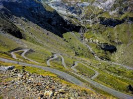hairpin road cycling on he Cirque de Troumous climb in the Pyrenees