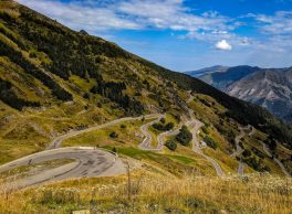 Luz Ardiden cycling view of the switchbacks in the French Pyrenees