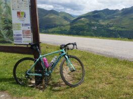 Bianchi bike at the Col d'Azet summit view to Peyresourde in the French Pyrenees