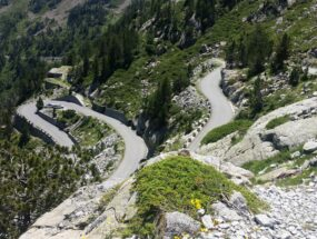 Views of the hairpin bends on the road to Lac de Cap de Long in the French Pyrenees