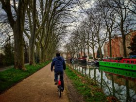 Male cyclist riding along the Canal du Midi