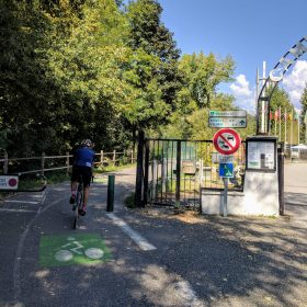 Cyclist riding the Albertville greenway to Annecy