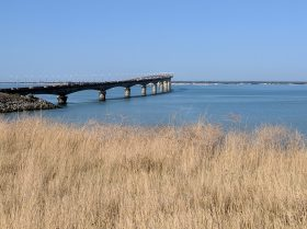 view of the Ile de Re bridge from the greenway