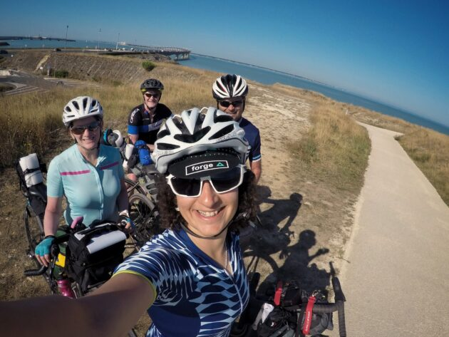 A group of four people about to Cycle to Ile de Re