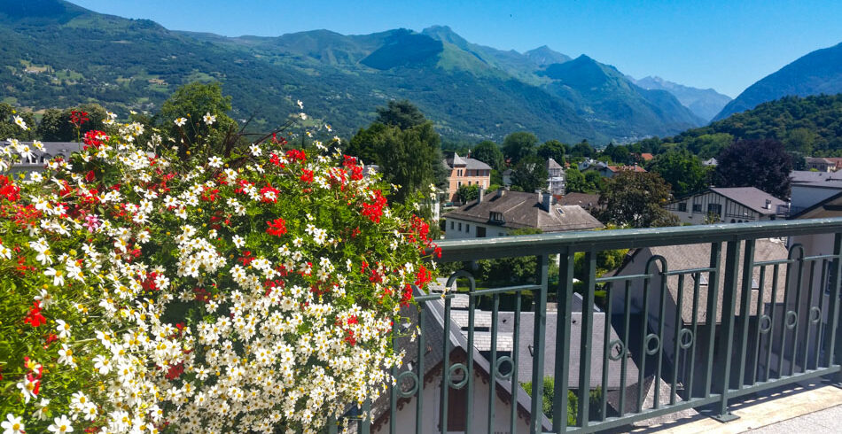 Views of the mountains in the French Pyrenees from one of the small villages