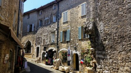 Looking at the stone buildings of St Paul de Vence