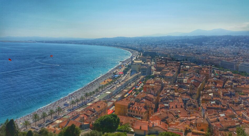 Views across the sea, beachfront and city of Nice, France