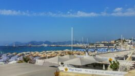 Cannes Beach in summer with blue skies