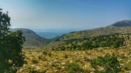 View of mountains from the summit of Col de Vence