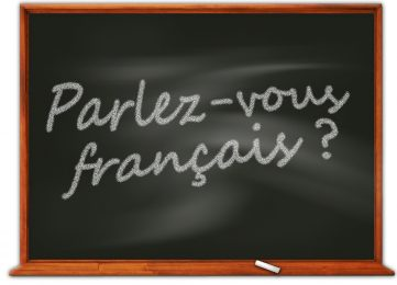 Blackboard showing Parlez-vous Francais? France
