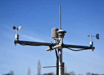 A weather station with different instruments in France