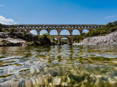 View of Pont du Gard from the river